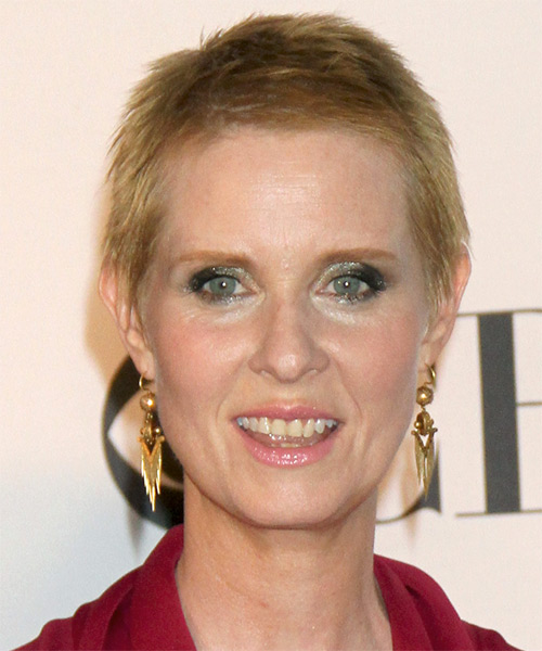 Cynthia Nixon     Dark Strawberry Blonde Pixie  Cut
