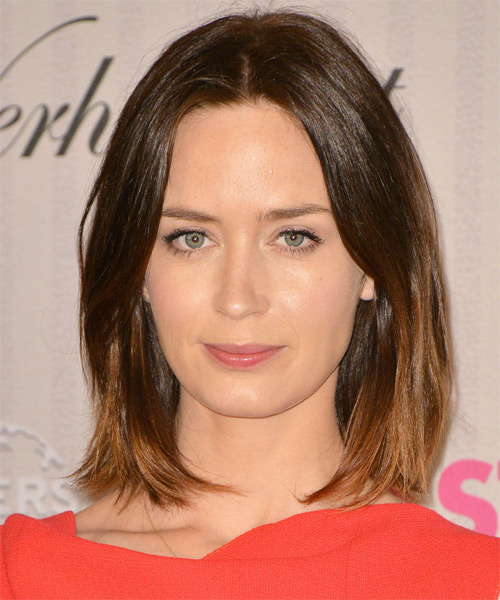 Emily Blunt Medium Straight Casual Bob  Hairstyle   - Dark Brunette