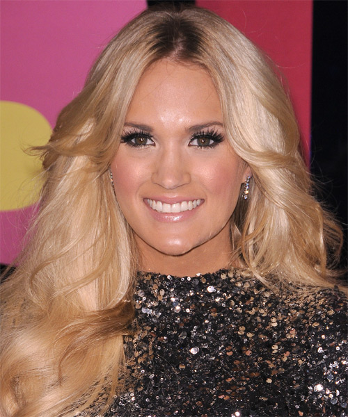 Carrie Underwood Long Wavy Casual    Hairstyle   - Light Champagne Blonde Hair Color