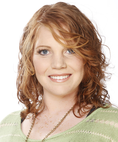 Medium Wavy Casual   Hairstyle with Side Swept Bangs  - Light Red (Ginger)