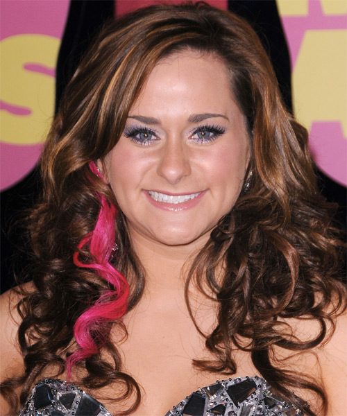 Skylar Laine  Long Wavy Formal    Hairstyle   - Medium Chestnut Brunette Hair Color with Pink Highlights