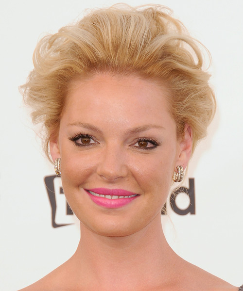 Katherine Heigl  Medium Curly Formal   Updo Hairstyle   -  Golden Blonde Hair Color with Light Blonde Highlights