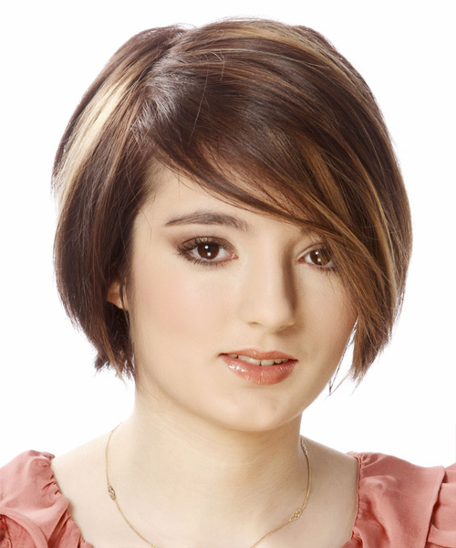 Short Straight Layered  Light Brunette Bob  Haircut with Side Swept Bangs  and Dark Brunette Highlights
