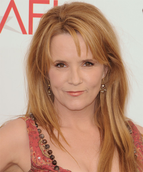 Lea Thompson Long Straight Casual   Hairstyle with Side Swept Bangs  - Dark Blonde (Golden)