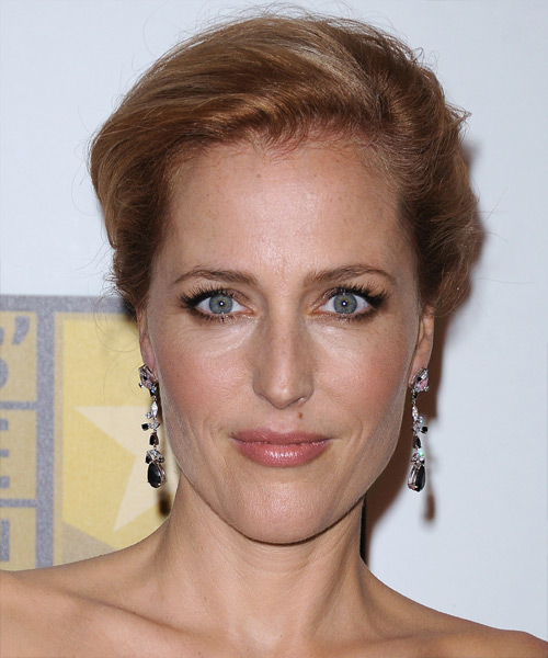 Gillian Anderson Long Straight Copper Red Updo