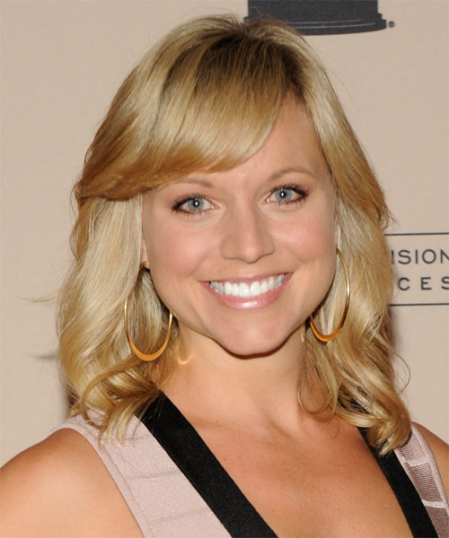 Tiffany Coyne Medium Wavy Casual   Hairstyle with Side Swept Bangs  - Dark Blonde (Golden)