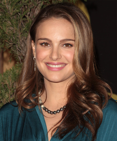 Natalie Portman Long Straight Formal    Hairstyle   - Medium Chestnut Brunette Hair Color