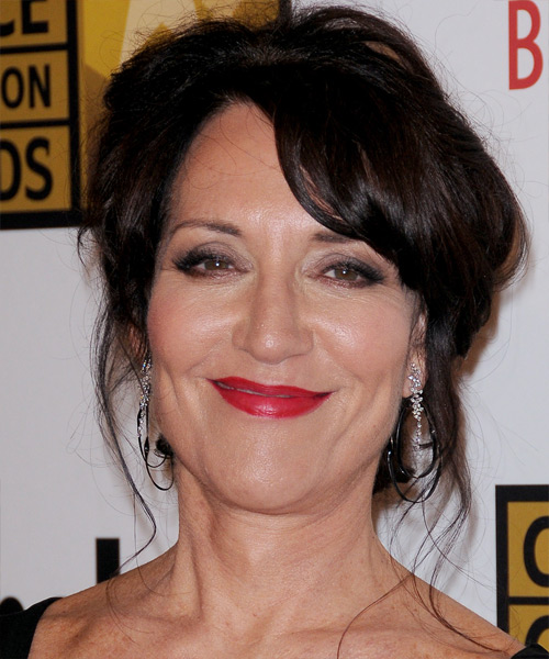 Katey Sagal Updo Long Curly Casual  Updo Hairstyle with Side Swept Bangs  - Black