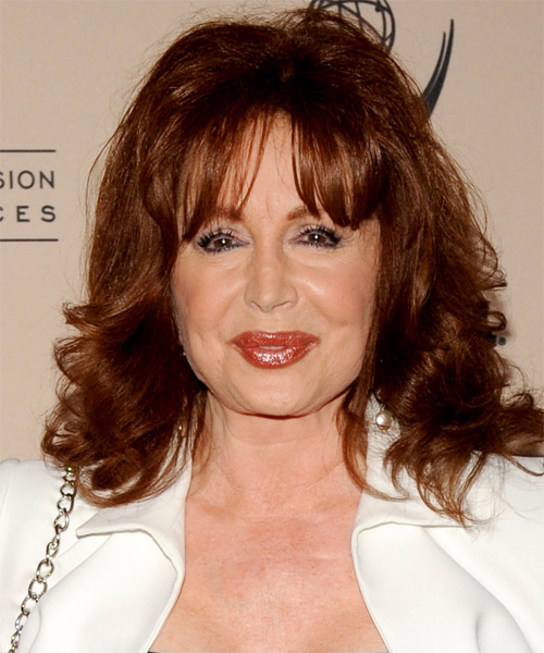 Suzanne Rogers  Medium Wavy Casual   Hairstyle with Blunt Cut Bangs  - Dark Brunette (Auburn)