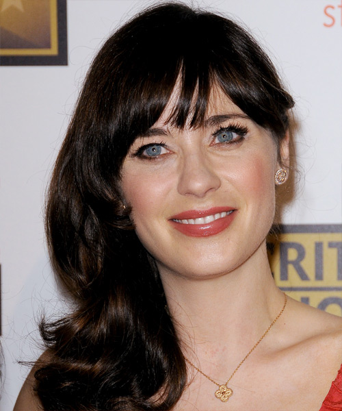 Zooey Deschanel Long Straight Formal   Hairstyle with Blunt Cut Bangs  - Dark Brunette