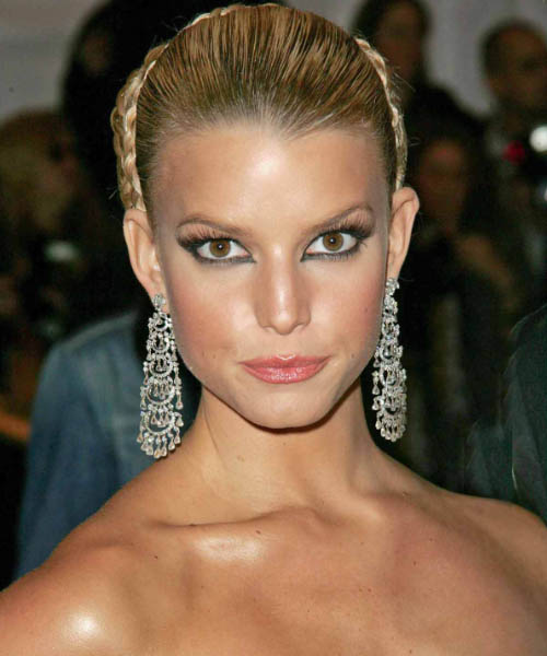 Jessica Simpson Updo Long Straight Formal Wedding Updo Hairstyle