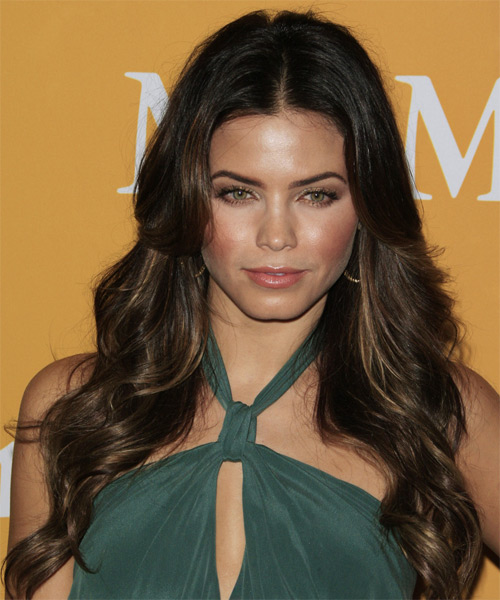 Jenna Dewan Long Wavy Casual    Hairstyle   - Dark Chocolate Brunette Hair Color with Dark Blonde Highlights