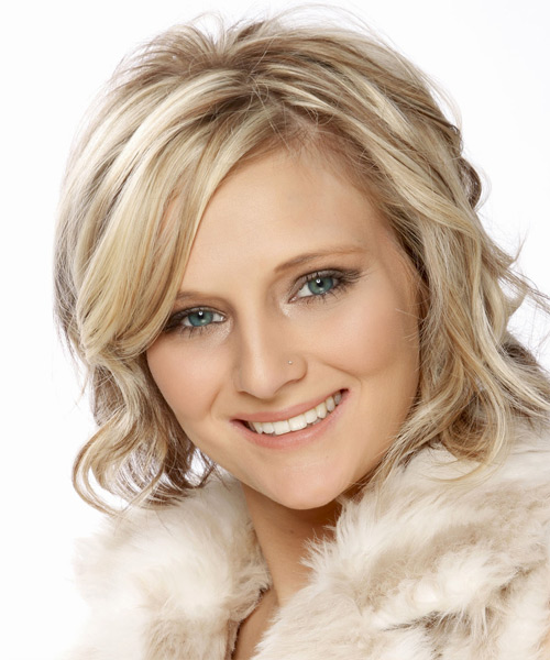 Medium Wavy   Light Champagne Blonde   Hairstyle with Side Swept Bangs  and  Brunette Highlights