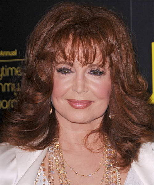 Suzanne Rogers Medium Wavy Formal   Hairstyle with Layered Bangs  - Medium Brunette (Auburn)