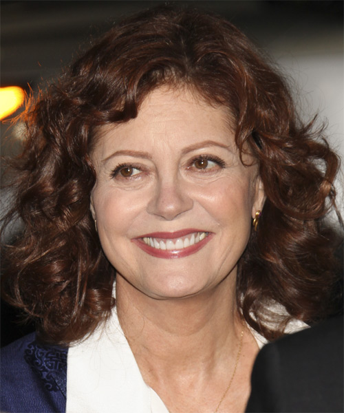 Susan Sarandon Medium Wavy    Auburn Brunette   Hairstyle