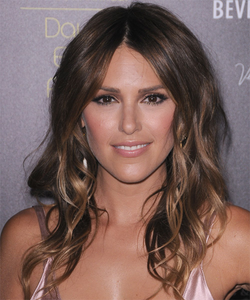 Elizabeth Hendrickson Long Wavy Casual    Hairstyle   - Dark Chestnut Brunette Hair Color with Light Brunette Highlights
