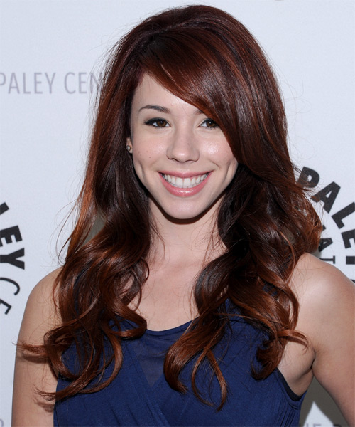 Jillian Rose Reed Long Wavy Formal    Hairstyle   - Dark Auburn Red Hair Color with  Red Highlights