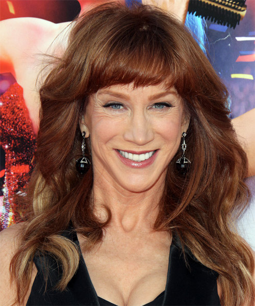 Kathy Griffin Long Wavy Formal   Hairstyle with Blunt Cut Bangs  - Dark Red (Auburn)