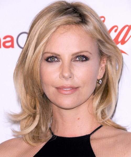 Charlize Theron Medium Straight Casual   Hairstyle   - Medium Blonde (Champagne)