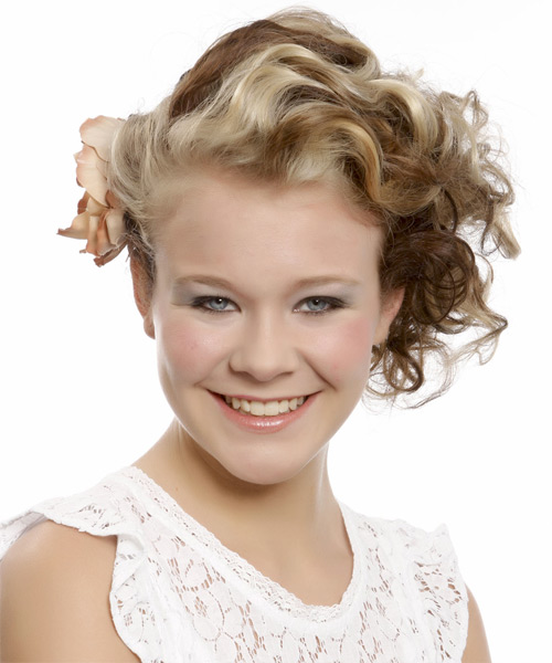 Medium Curly   Light Blonde and  Brunette Two-Tone  Updo