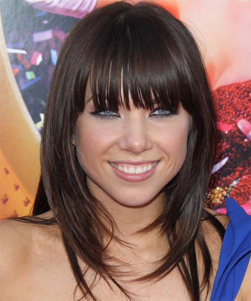 Carly Rae Jepsen  Long Straight Casual   Hairstyle with Blunt Cut Bangs  - Dark Brunette (Chocolate)