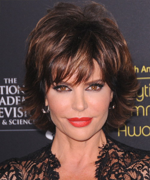 Lisa Rinna Short Straight Formal    Hairstyle with Layered Bangs  - Dark Brunette Hair Color with Dark Blonde Highlights