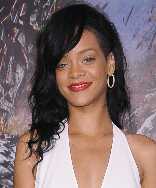 Rihanna Long Wavy Casual   Hairstyle   - Black