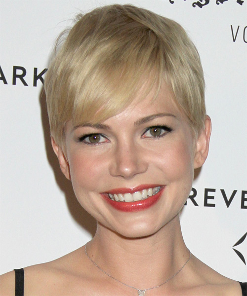 Michelle Williams Short Straight Casual Pixie  Hairstyle with Side Swept Bangs  - Light Blonde (Ash)
