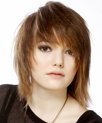 Medium Straight Casual  Emo  Hairstyle with Side Swept Bangs  - Light Auburn Brunette Hair Color with Light Blonde Highlights