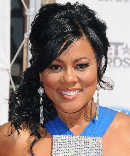 Lela Rochon Long Curly Black Half Up Hairstyle