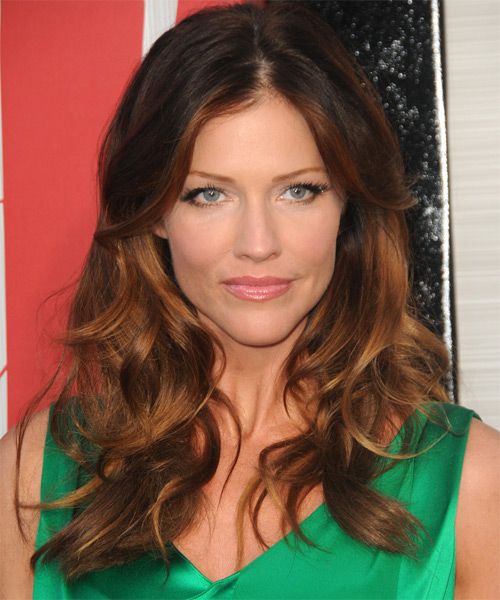 Tricia Helfer Long Wavy Casual Shag  Hairstyle   - Dark Brunette