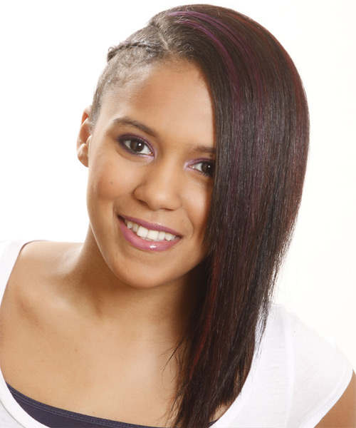 Long Straight   Black  Braided Half Up Hairstyle   with Purple Highlights
