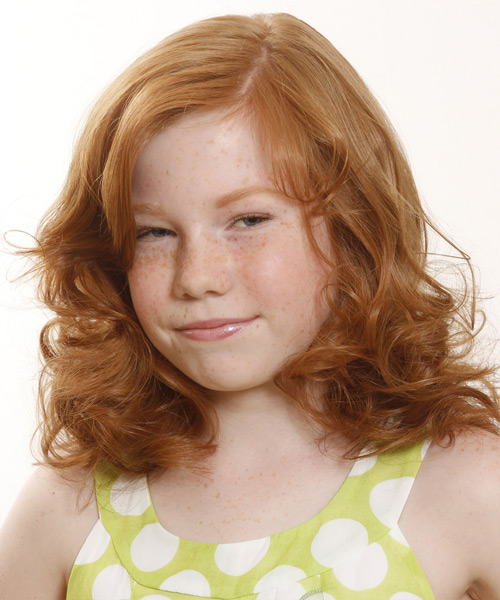 Medium Wavy Formal   Hairstyle with Side Swept Bangs  - Light Red (Copper)