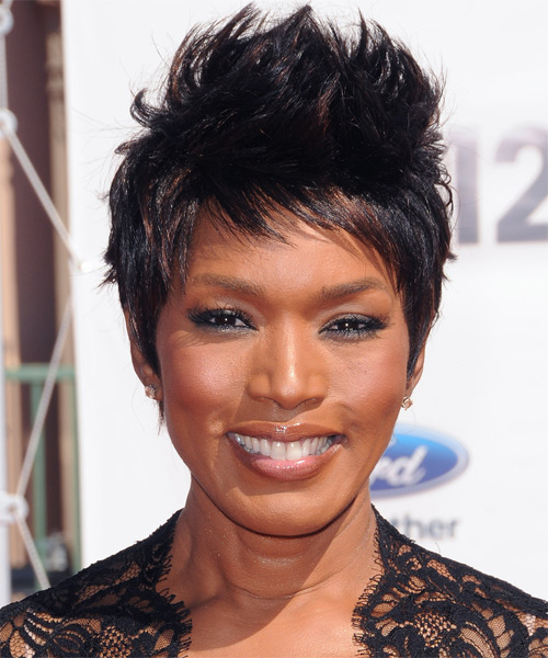 Angela Bassett Short Straight Casual Pixie  Hairstyle with Side Swept Bangs  - Black