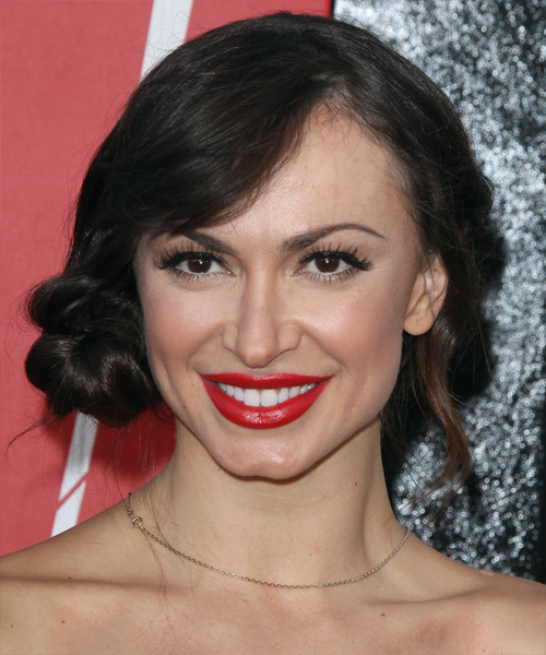 Karina Smirnoff Updo Long Straight Formal Wedding Updo Hairstyle with Side Swept Bangs  - Black