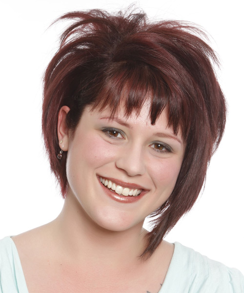 Short Straight Casual Bob  Hairstyle with Razor Cut Bangs  (Burgundy)