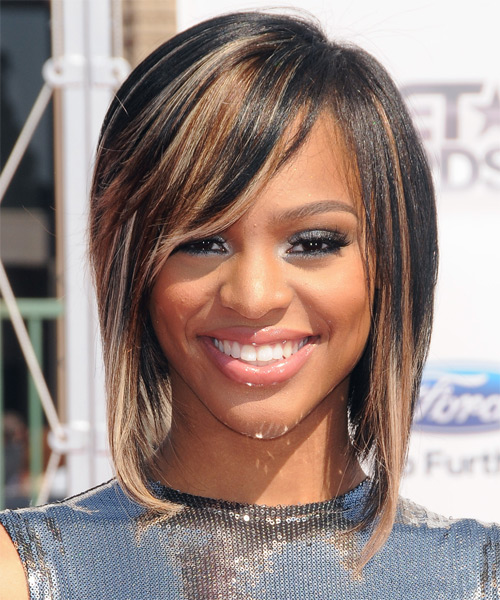 Brianna Perry  Medium Straight Casual Bob  Hairstyle with Side Swept Bangs  - Black