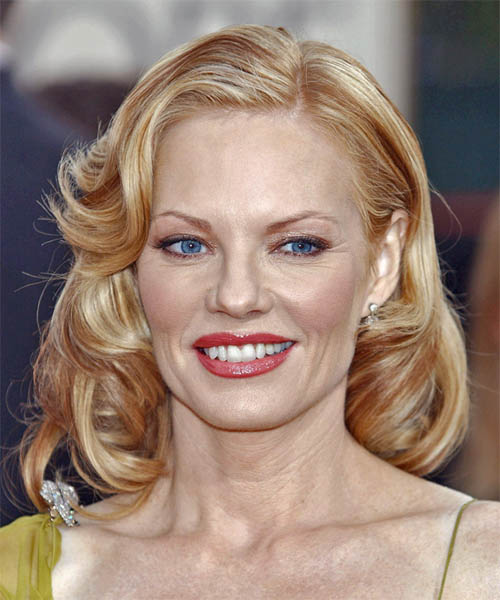 Marg Helgenberger Medium Wavy Formal   Hairstyle
