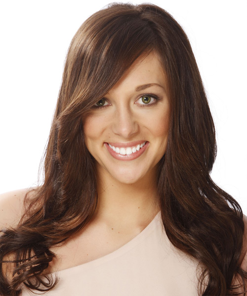 Long Straight Formal   Hairstyle with Side Swept Bangs  - Dark Brunette (Chocolate)