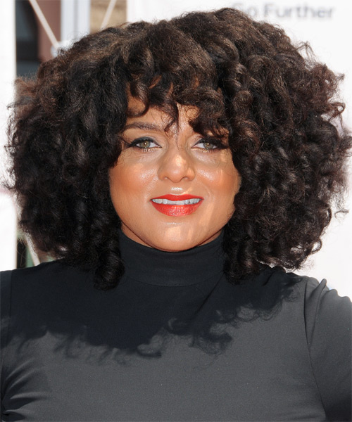 Marsha Ambrosius  Medium Curly Casual    Hairstyle with Layered Bangs  - Black  Hair Color