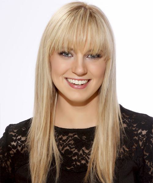 Long Straight Casual   Hairstyle with Blunt Cut Bangs  - Light Blonde (Golden)