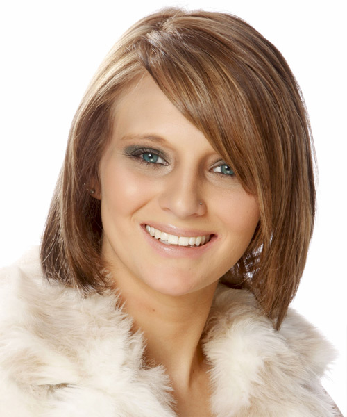 Medium Straight   Light Auburn Red Bob  Haircut with Side Swept Bangs  and Light Blonde Highlights