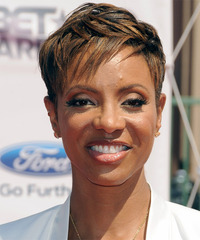 MC Lyte Short Straight Formal Layered Pixie  Hairstyle   - Black Golden  Hair Color with  Blonde Highlights