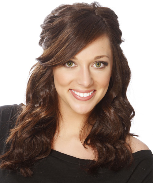 Long Curly   Dark Brunette  Half Up Hairstyle with Side Swept Bangs  and  Brunette Highlights