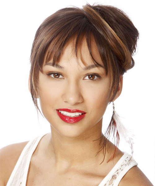 Long Straight Formal   Updo Hairstyle with Blunt Cut Bangs  -  Chocolate Brunette Hair Color with Dark Brunette Highlights