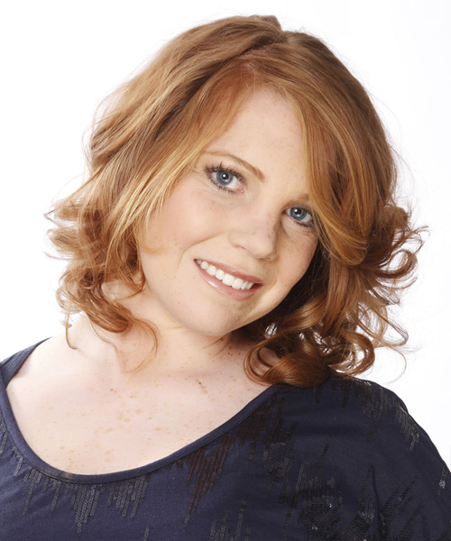 Medium Wavy Formal    Hairstyle   - Light Copper Red Hair Color