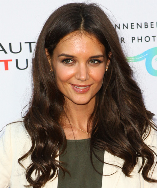 Katie Holmes Long Wavy Casual   Hairstyle   (Mocha)