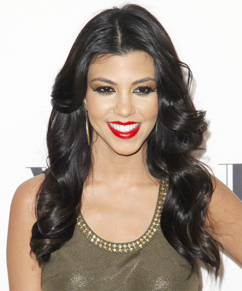 Kourtney Kardashian Long Wavy Formal    Hairstyle   - Black  Hair Color
