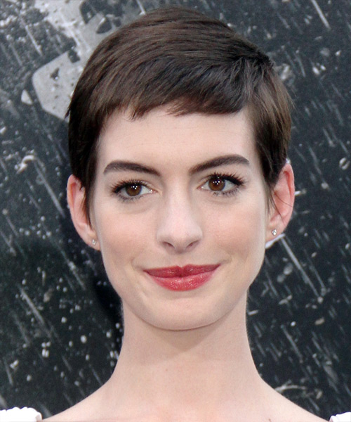 Anne Hathaway Short Straight Casual Layered Pixie  Hairstyle with Side Swept Bangs  - Dark Mocha Brunette Hair Color