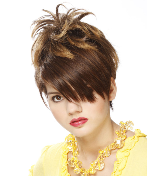 Short Straight Alternative  Emo  Hairstyle with Side Swept Bangs  -  Chestnut Brunette Hair Color
